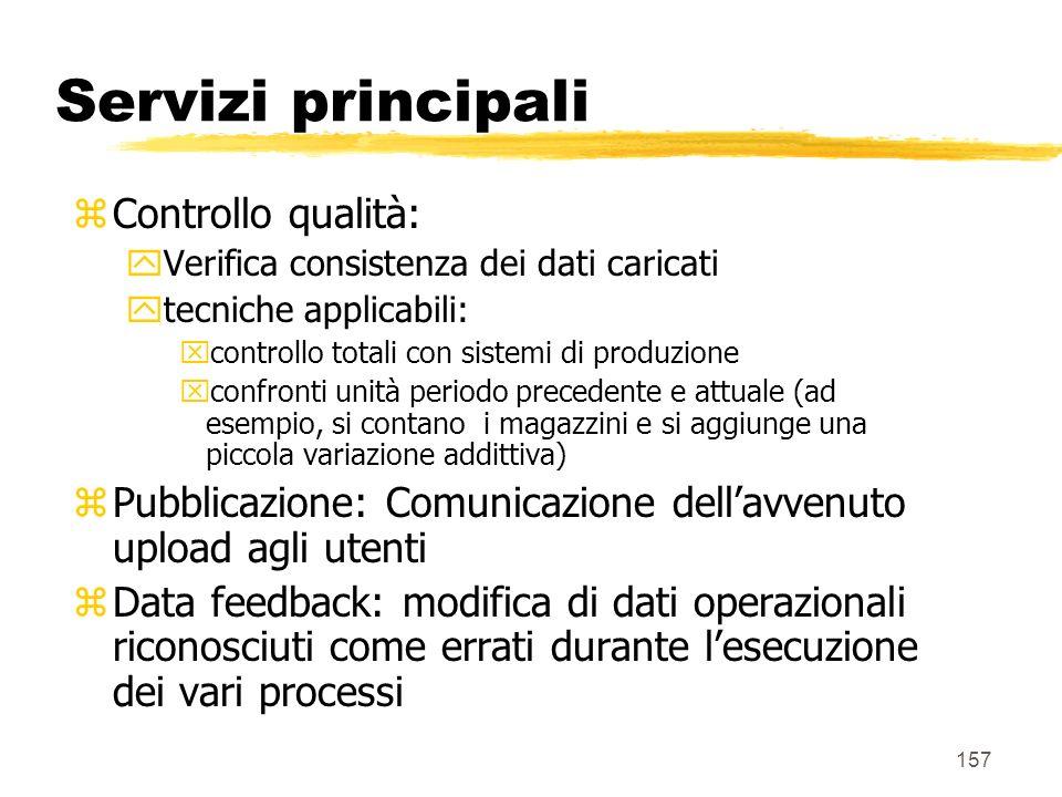 Servizi principali Controllo qualità: