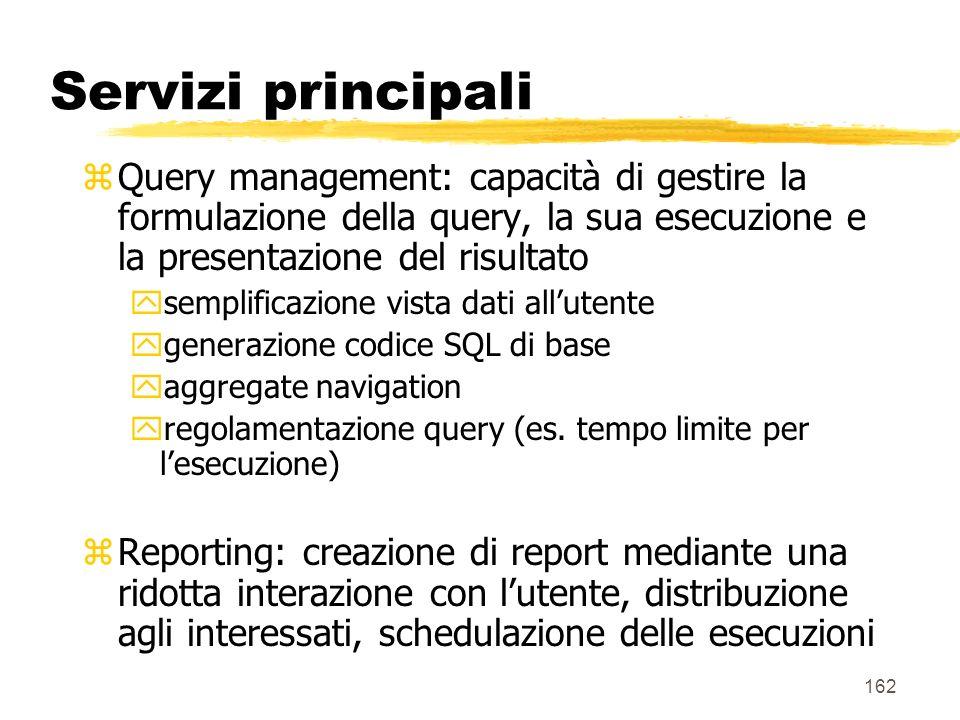 Servizi principali Query management: capacità di gestire la formulazione della query, la sua esecuzione e la presentazione del risultato.