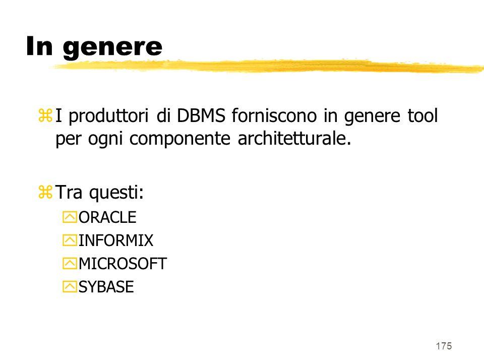 In genere I produttori di DBMS forniscono in genere tool per ogni componente architetturale. Tra questi: