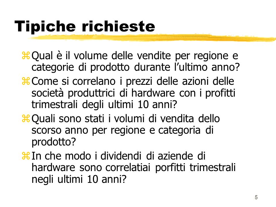 Tipiche richieste Qual è il volume delle vendite per regione e categorie di prodotto durante l'ultimo anno
