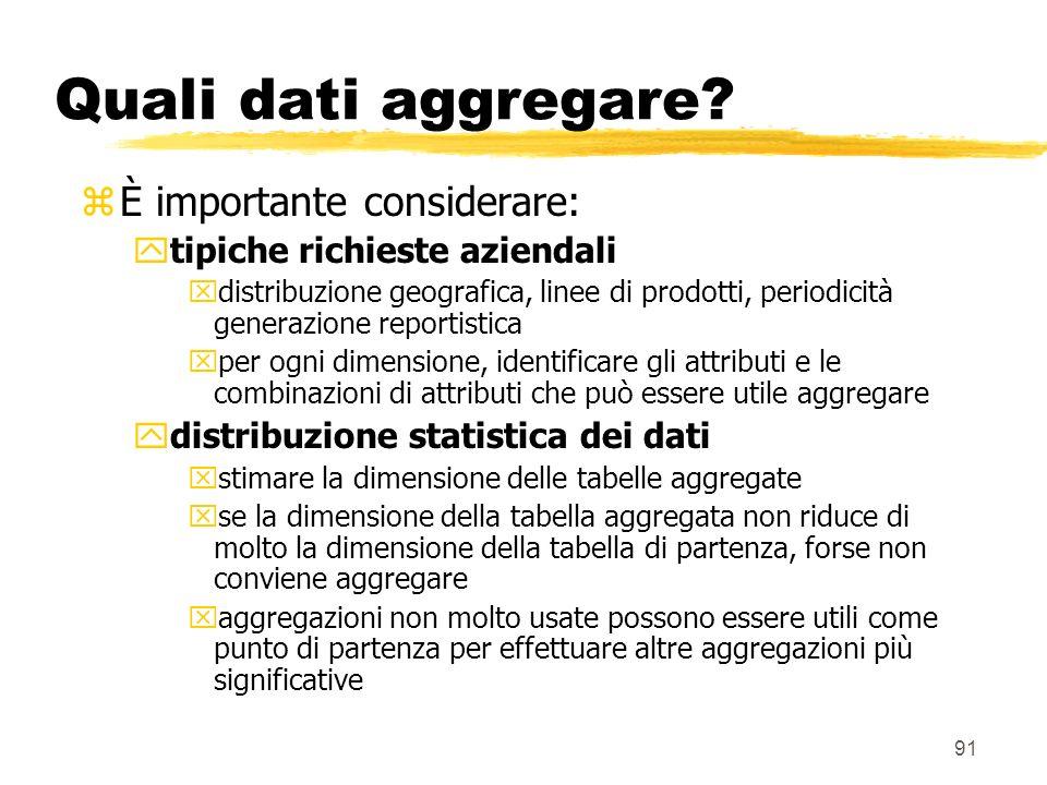 Quali dati aggregare È importante considerare:
