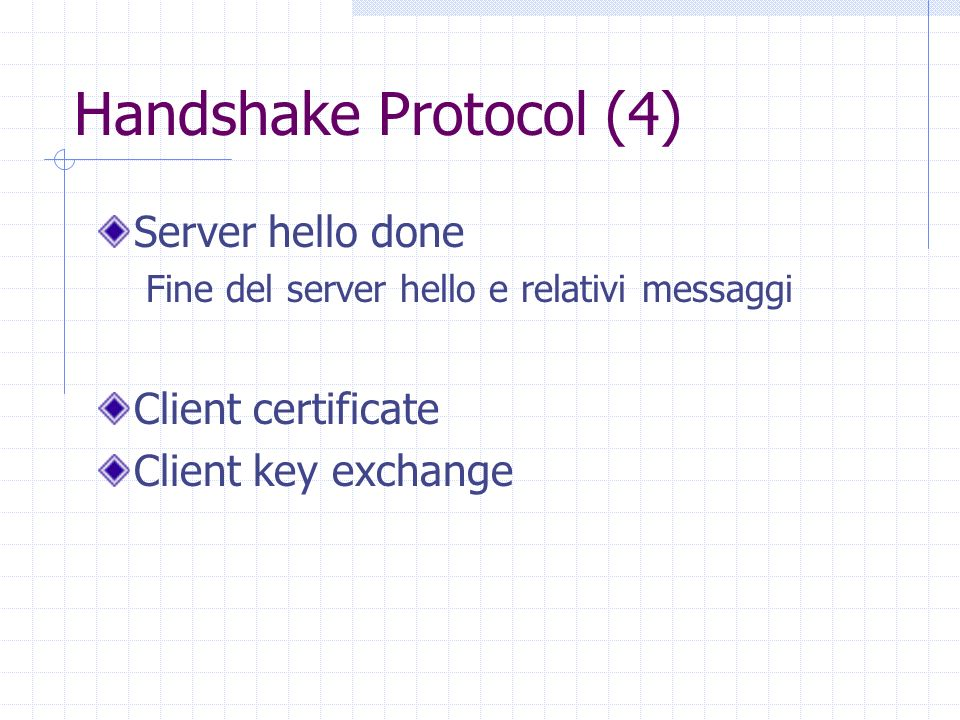Handshake Protocol (4) Server hello done Client certificate