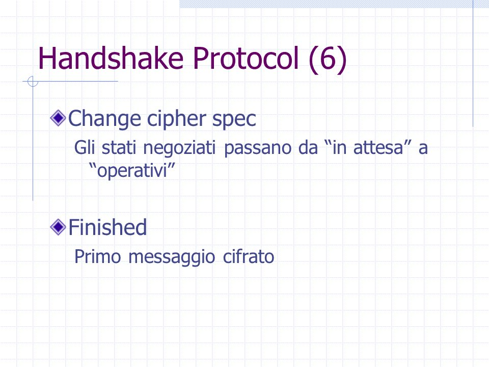 Handshake Protocol (6) Change cipher spec Finished