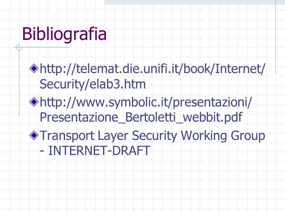 Bibliografia http://telemat.die.unifi.it/book/Internet/Security/elab3.htm. http://www.symbolic.it/presentazioni/ Presentazione_Bertoletti_webbit.pdf.