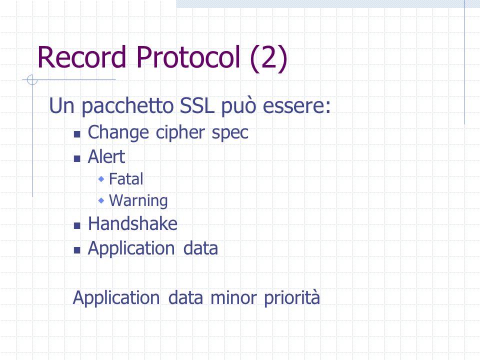 Record Protocol (2) Un pacchetto SSL può essere: Change cipher spec