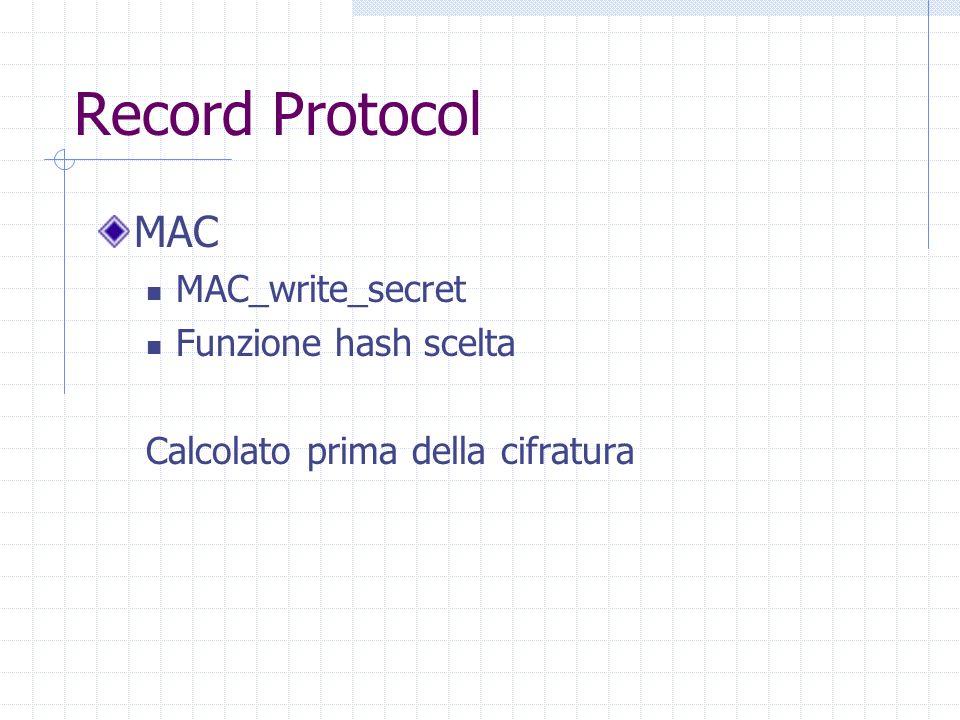 Record Protocol MAC MAC_write_secret Funzione hash scelta