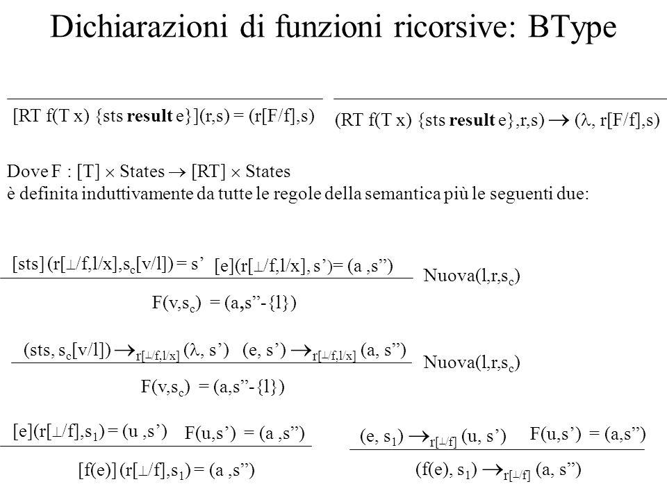 Dichiarazioni di funzioni ricorsive: BType