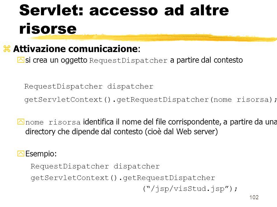 Servlet: accesso ad altre risorse