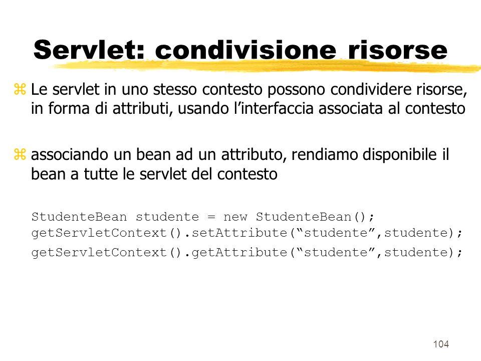 Servlet: condivisione risorse