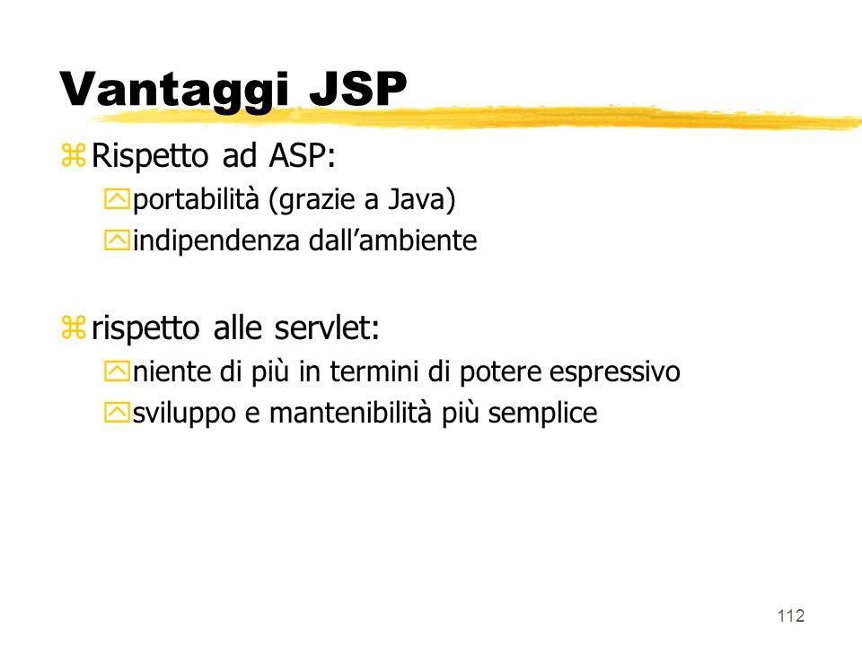 Vantaggi JSP Rispetto ad ASP: rispetto alle servlet: