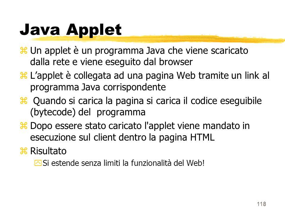 Java Applet Un applet è un programma Java che viene scaricato dalla rete e viene eseguito dal browser.