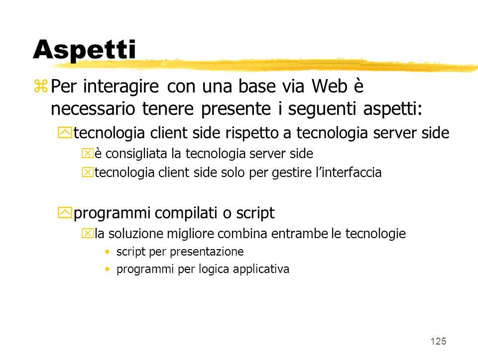 Aspetti Per interagire con una base via Web è necessario tenere presente i seguenti aspetti:
