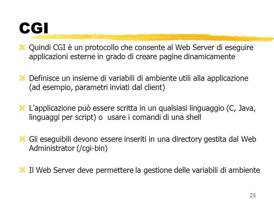 CGI Quindi CGI è un protocollo che consente al Web Server di eseguire applicazioni esterne in grado di creare pagine dinamicamente.