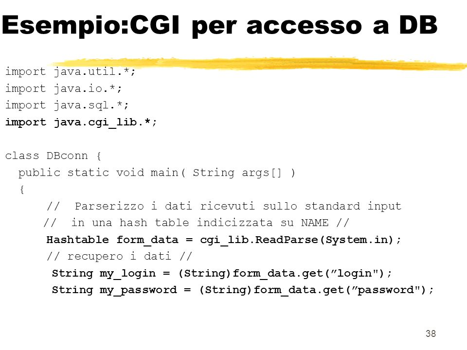 Esempio:CGI per accesso a DB