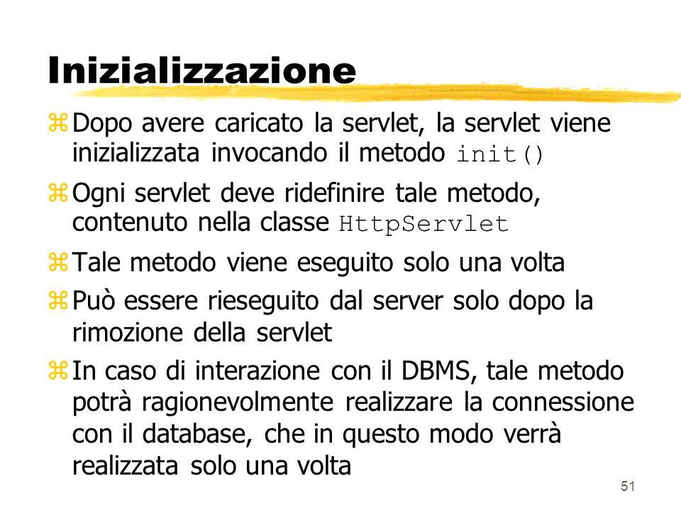 Inizializzazione Dopo avere caricato la servlet, la servlet viene inizializzata invocando il metodo init()