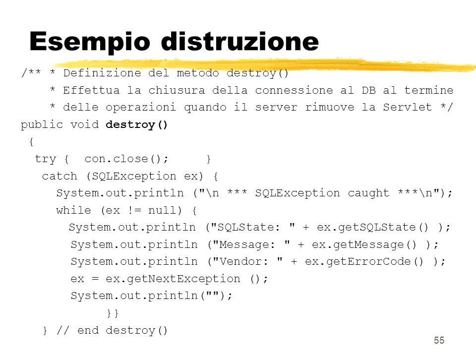 Esempio distruzione /** * Definizione del metodo destroy()