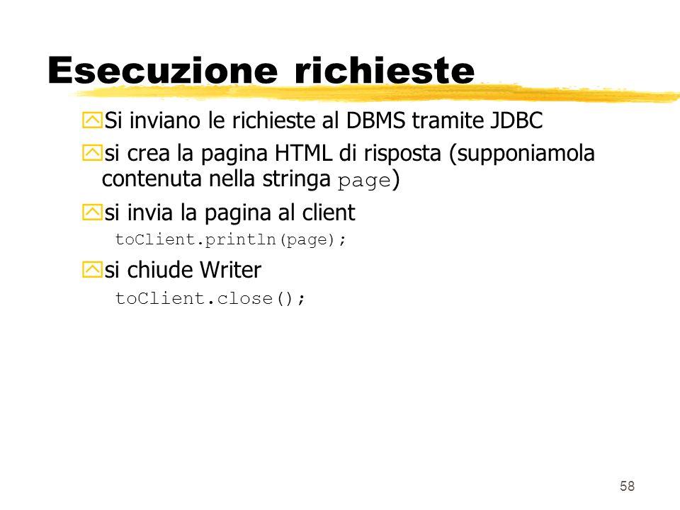 Esecuzione richieste Si inviano le richieste al DBMS tramite JDBC