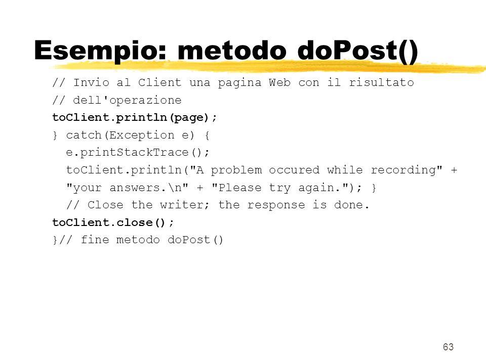 Esempio: metodo doPost()