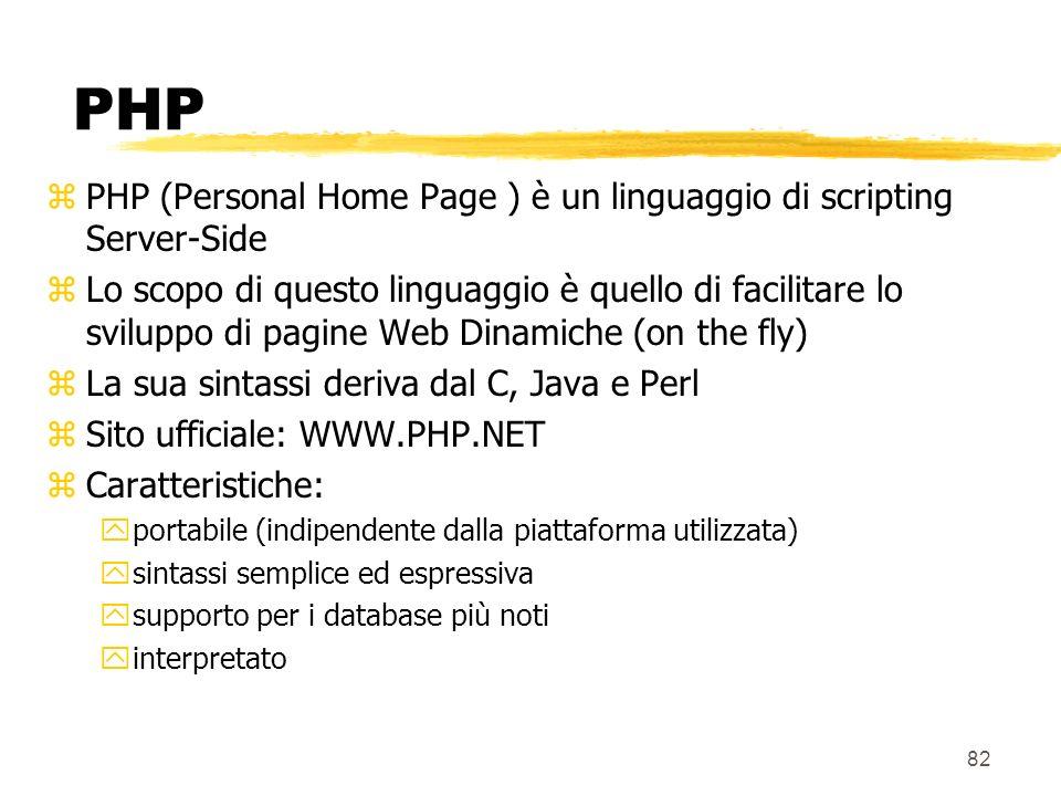 PHP PHP (Personal Home Page ) è un linguaggio di scripting Server-Side