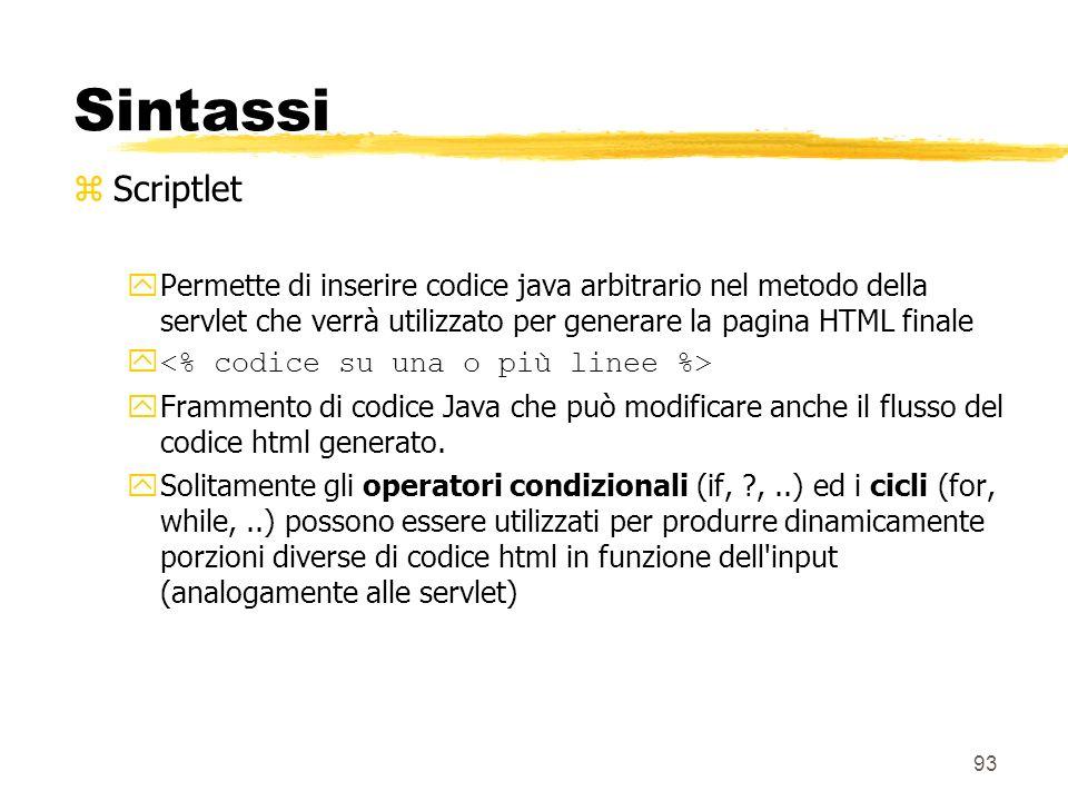 Sintassi Scriptlet. Permette di inserire codice java arbitrario nel metodo della servlet che verrà utilizzato per generare la pagina HTML finale.