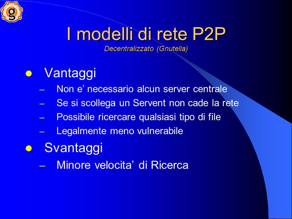 I modelli di rete P2P Decentralizzato (Gnutella)