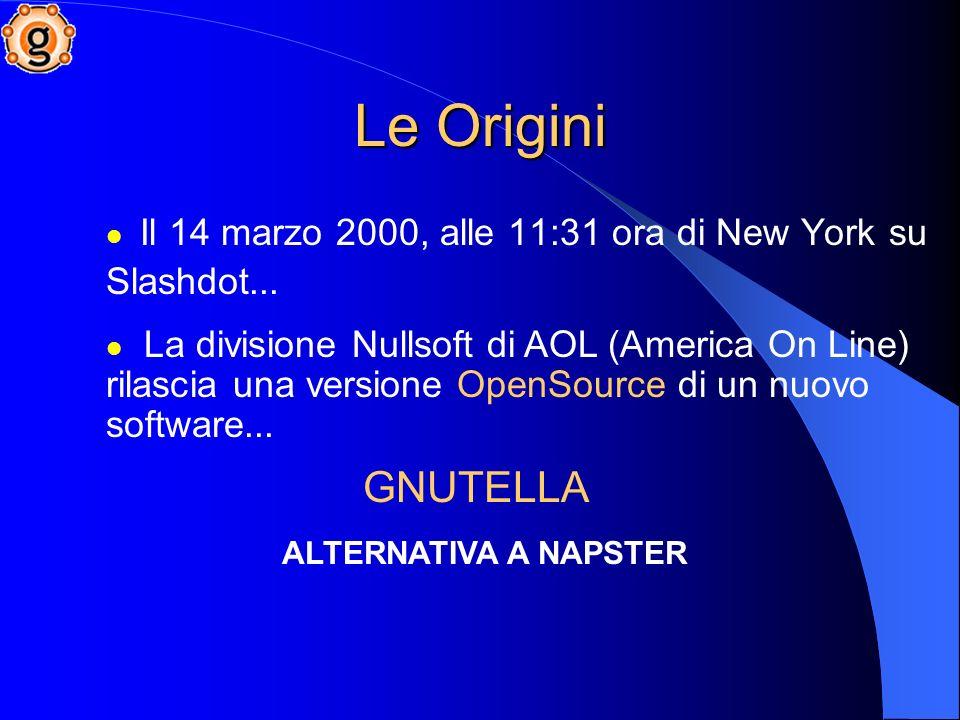 Le Origini GNUTELLA Il 14 marzo 2000, alle 11:31 ora di New York su