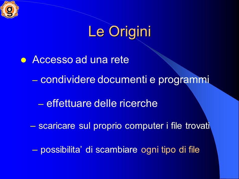 Le Origini Accesso ad una rete condividere documenti e programmi