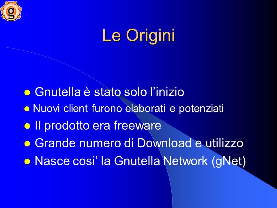 Le Origini Gnutella è stato solo l'inizio Il prodotto era freeware