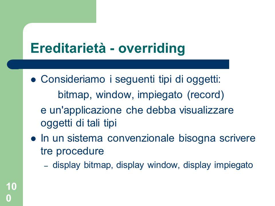Ereditarietà - overriding