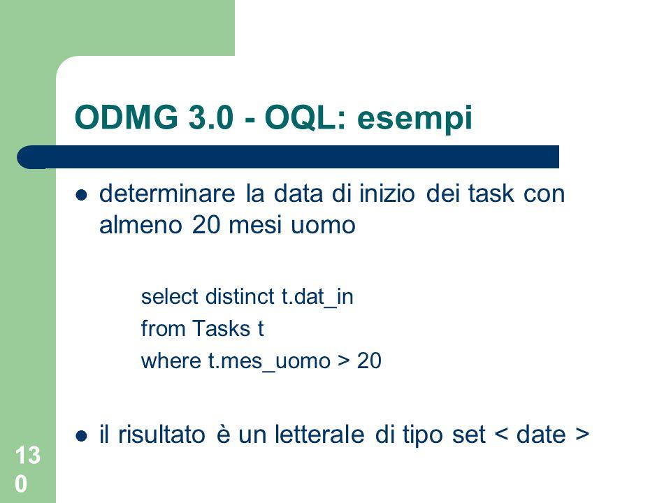 ODMG 3.0 - OQL: esempideterminare la data di inizio dei task con almeno 20 mesi uomo. select distinct t.dat_in.
