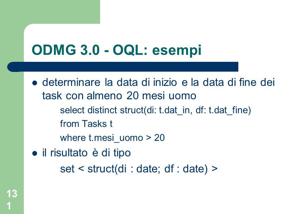 ODMG 3.0 - OQL: esempideterminare la data di inizio e la data di fine dei task con almeno 20 mesi uomo.