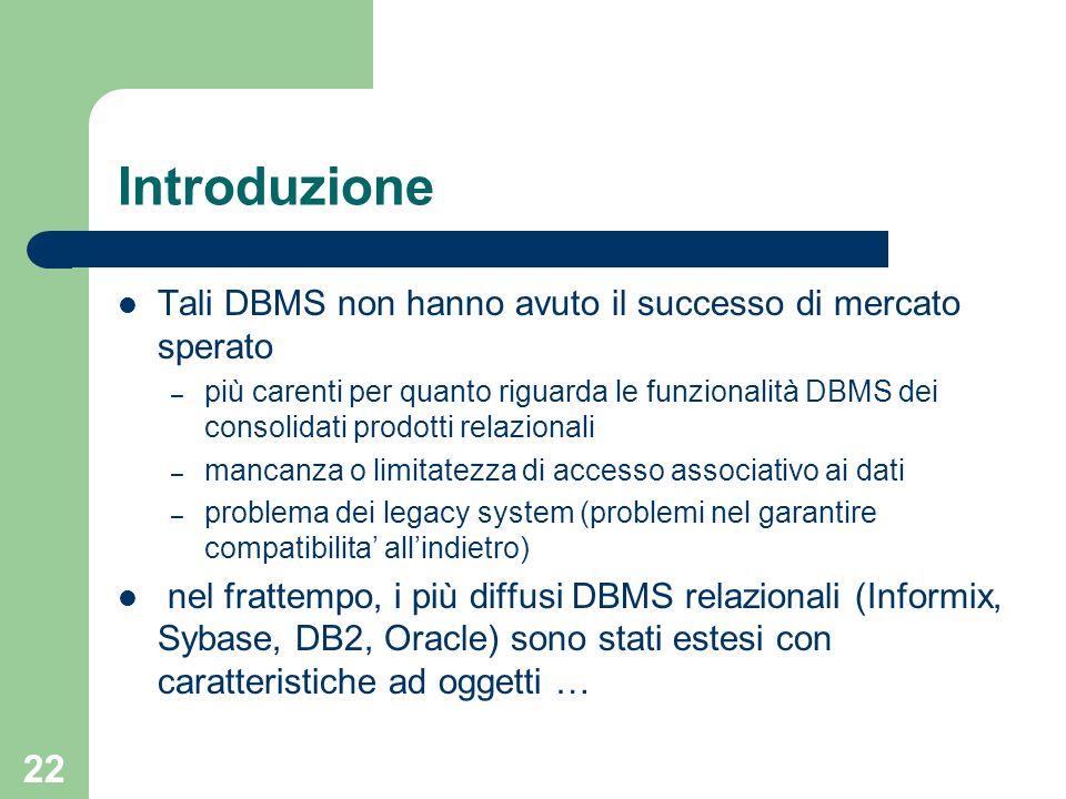 Introduzione Tali DBMS non hanno avuto il successo di mercato sperato