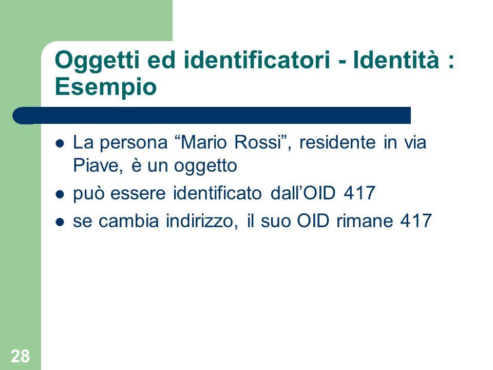Oggetti ed identificatori - Identità : Esempio