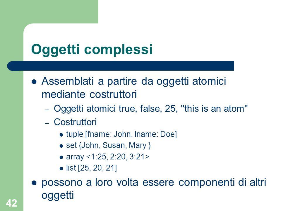 Oggetti complessiAssemblati a partire da oggetti atomici mediante costruttori. Oggetti atomici true, false, 25, this is an atom