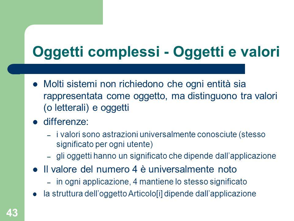Oggetti complessi - Oggetti e valori