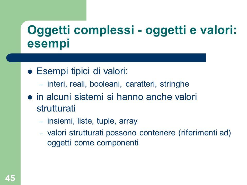 Oggetti complessi - oggetti e valori: esempi