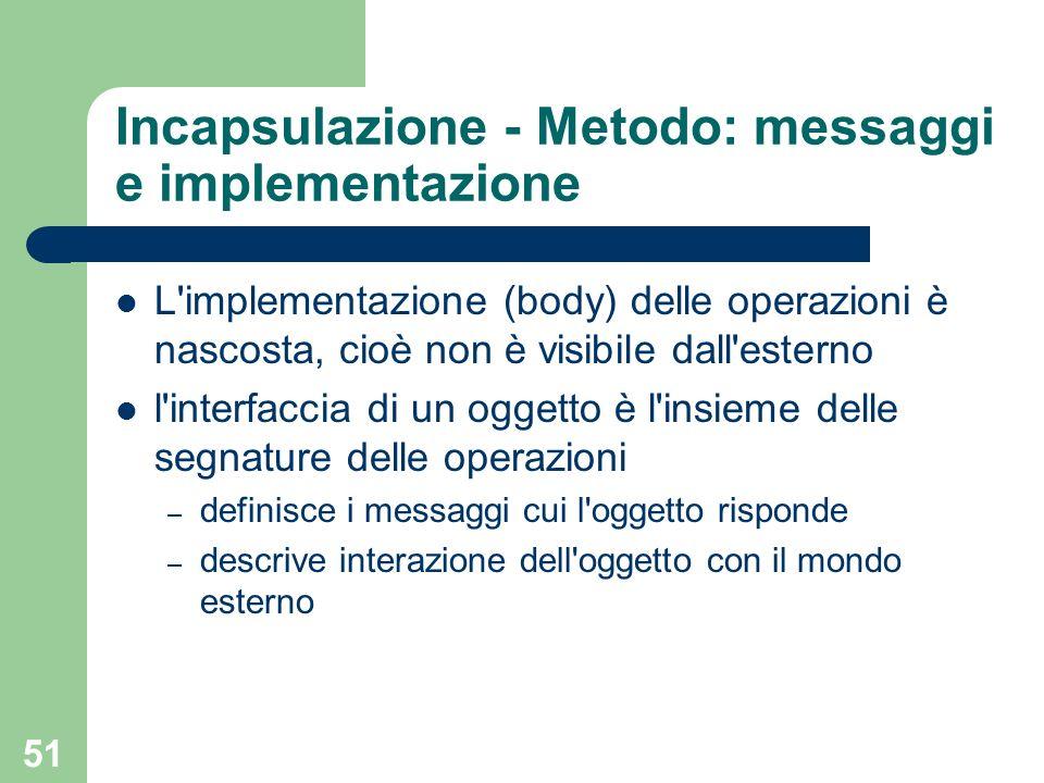 Incapsulazione - Metodo: messaggi e implementazione