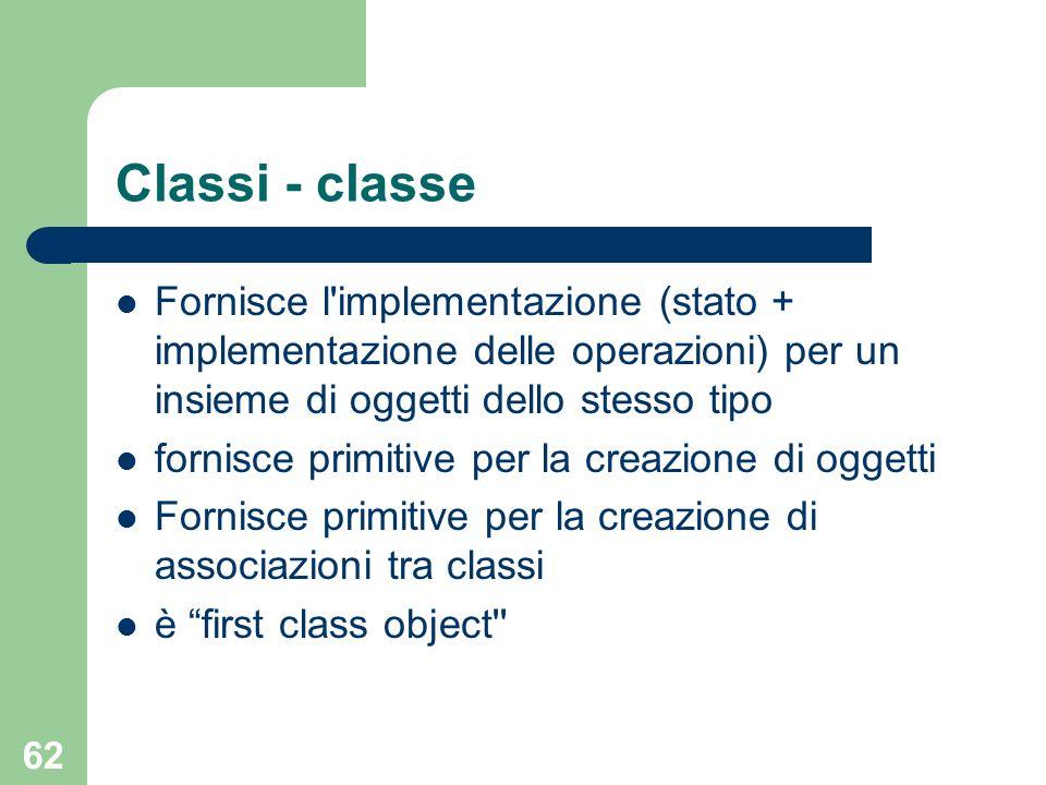 Classi - classeFornisce l implementazione (stato + implementazione delle operazioni) per un insieme di oggetti dello stesso tipo.