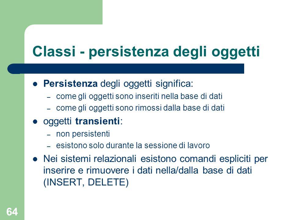 Classi - persistenza degli oggetti