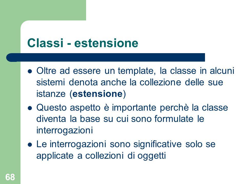 Classi - estensione Oltre ad essere un template, la classe in alcuni sistemi denota anche la collezione delle sue istanze (estensione)