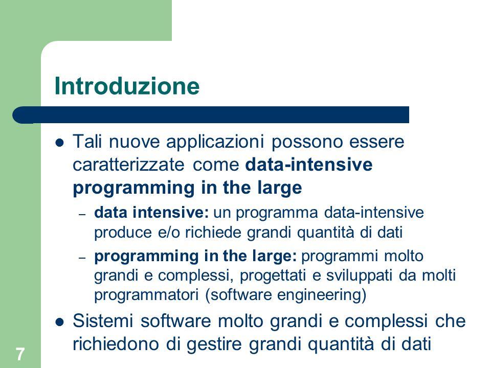 Introduzione Tali nuove applicazioni possono essere caratterizzate come data-intensive programming in the large.