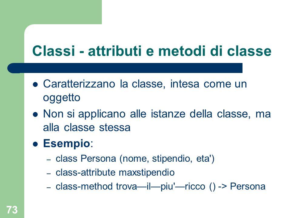 Classi - attributi e metodi di classe