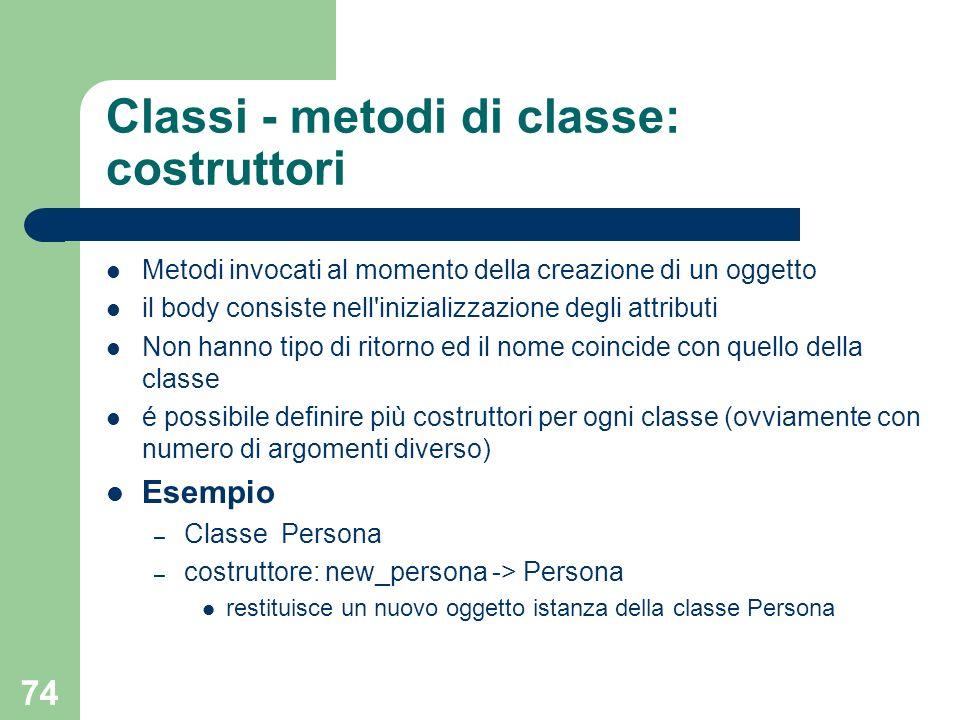 Classi - metodi di classe: costruttori