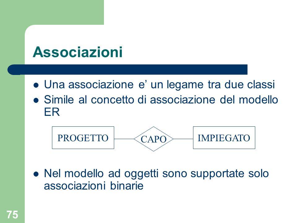 Associazioni Una associazione e' un legame tra due classi