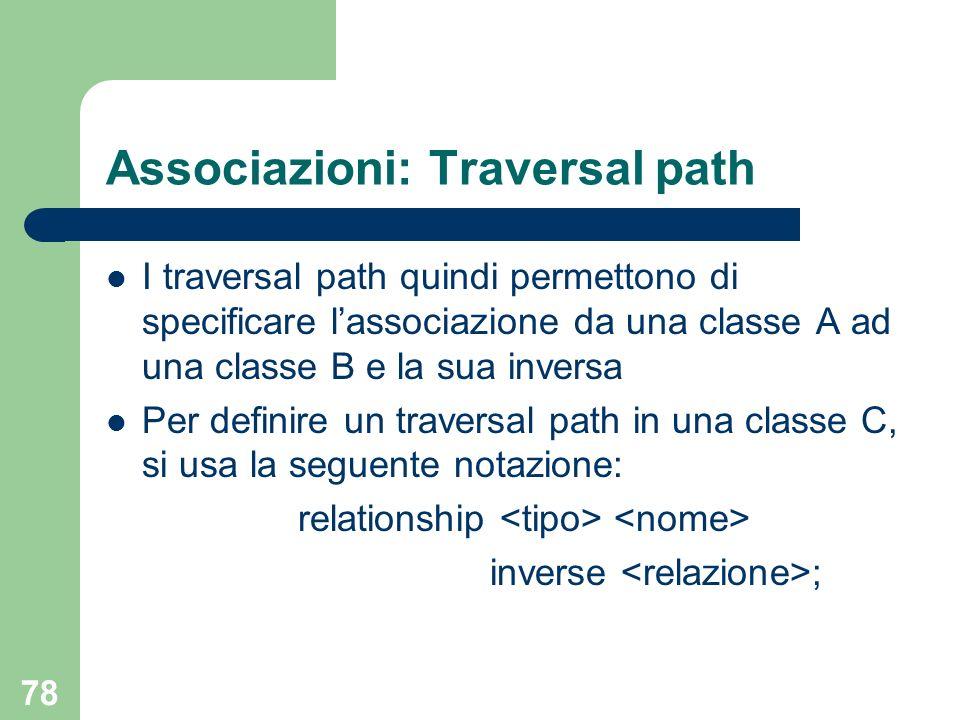Associazioni: Traversal path