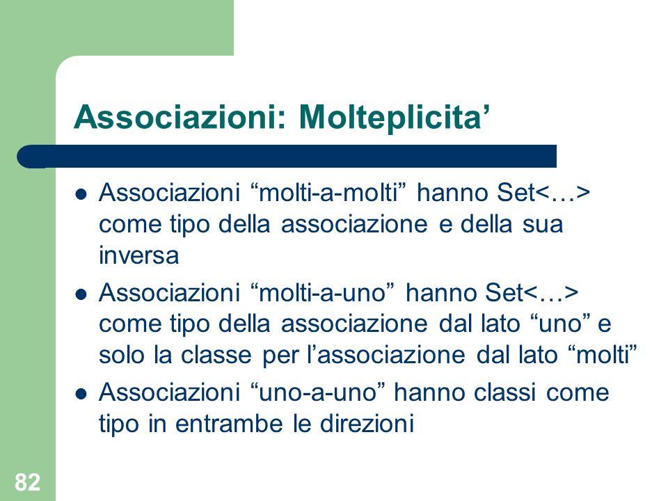 Associazioni: Molteplicita'