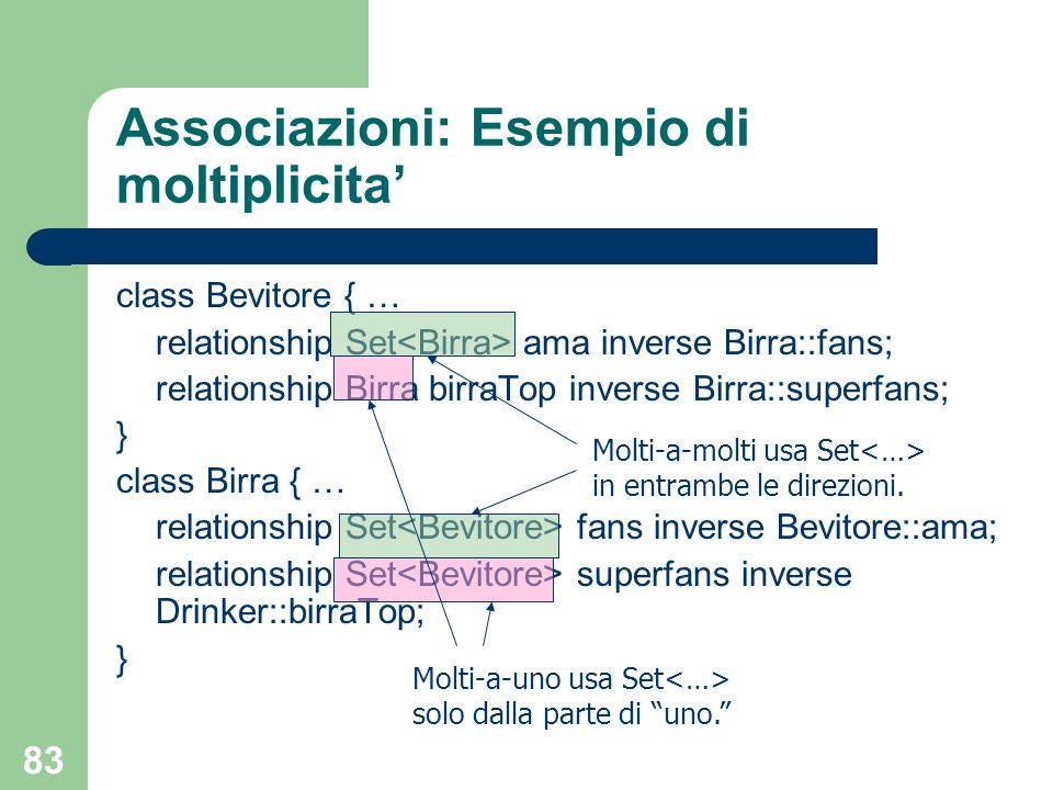 Associazioni: Esempio di moltiplicita'