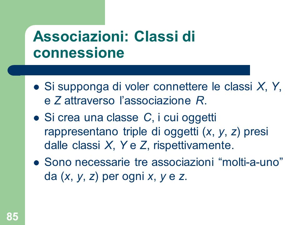 Associazioni: Classi di connessione