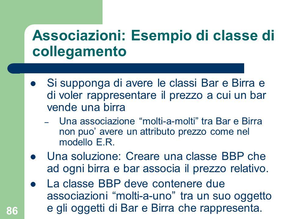 Associazioni: Esempio di classe di collegamento
