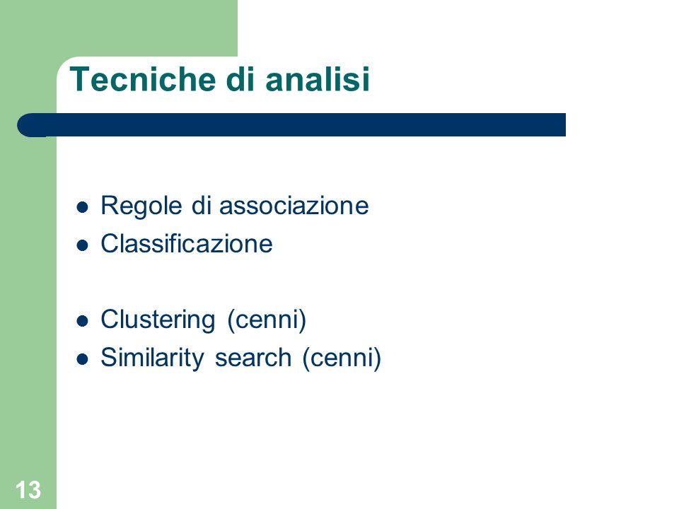 Tecniche di analisi Regole di associazione Classificazione